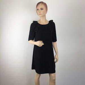 Tiana B. Black Lasercut Tiered Neck Shift Dress 6